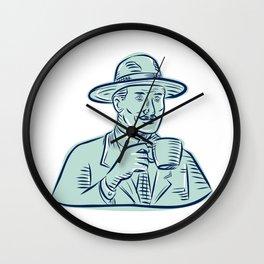 Man Fedora Hat Drinking Coffee Etching Wall Clock