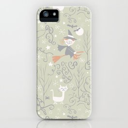 Little witch flying back home in Halloween iPhone Case