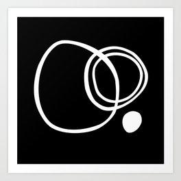 Black and White Circles Abstract Modern Art Print