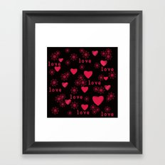 Abstract pattern with red c red hearts,delicate flowers on a black background. Framed Art Print