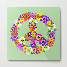 Peace Sign Floral on Green Metal Print