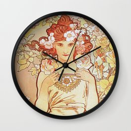 Rose by Alphonse Mucha 1897 // Vintage Girl with Red Hair Floral Love Design Wall Clock