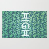 cannabis Area & Throw Rugs featuring HIGH TYPO! Cannabis / Hemp / 420 / Marijuana  - Pattern by badbugs_art