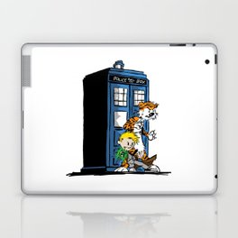 calvin and hobbes police box in action Laptop & iPad Skin