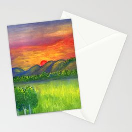 Mystical red sunset Stationery Cards