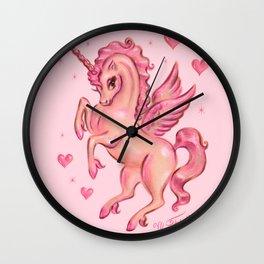 Unicorn Pegasus in Pink Wall Clock