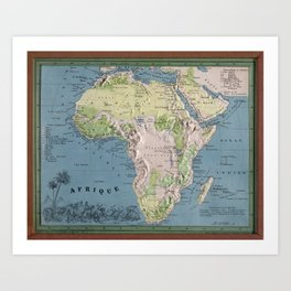 Vintage Africa Map (1865) Vintage African Continent Atlas Art Print