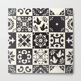 Moroccan Tiles in Black and White Metal Print