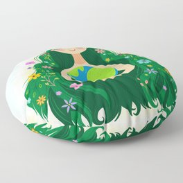 Beautiful Flowing Flower Earth Mother Figure Floor Pillow