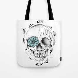 Poetic Wooden Skull Tote Bag