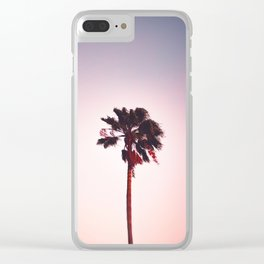Pink And Purple Background Sunset Minimalist Palm Tree Silhouette Modern Photo California Clear iPhone Case