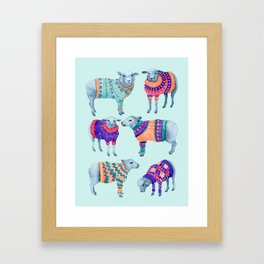 Sheep in Woolly Jumpers Framed Art Print