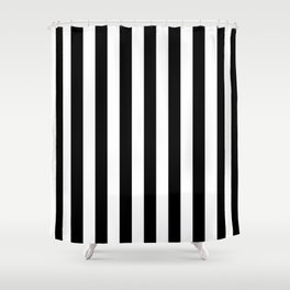 Narrow Vertical Stripes - White and Black Shower Curtain