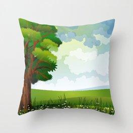 Beautiful Green Pasture Harmonic Day Dreamy UHD Throw Pillow