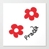 wallet Canvas Prints featuring Inspired PRADA wallet *White and Red Flower* by art_146