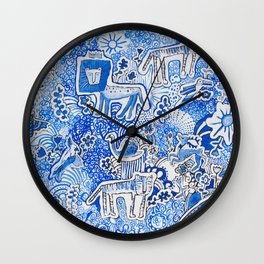 Delft Blue and White Pattern Painting with Lions and Tigers and Birds Wall Clock