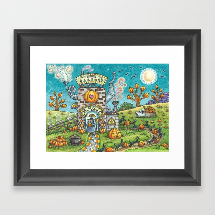 MYSTICAL MAGIC PIE FACTORY - Brack Halloween Witch And Black Cats Framed Art Print