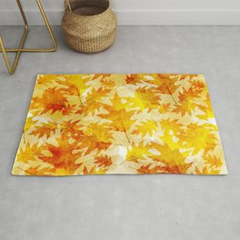 Autumn Oak Leaves Pattern Rug