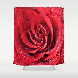 Red Swirl Rose Shower Curtain