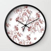 penis Wall Clocks featuring Penis Pattern RED by Daniel McLaren