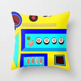 Sushi Served on Blue Dishes with Yellow Tablecloth Throw Pillow