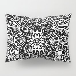Black on White Mandala Pillow Sham