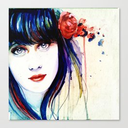 Zooey Watercolor Canvas Print