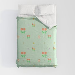 Modern abstract mint green  coral orange floral Comforters