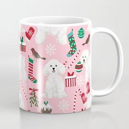 Bichon Frise pink christmas holiday themed pattern print pet friendly dog breed gifts Coffee Mug