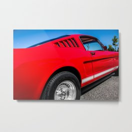 1965 Red Fastback Ford Mustang Muscle Car Metal Print