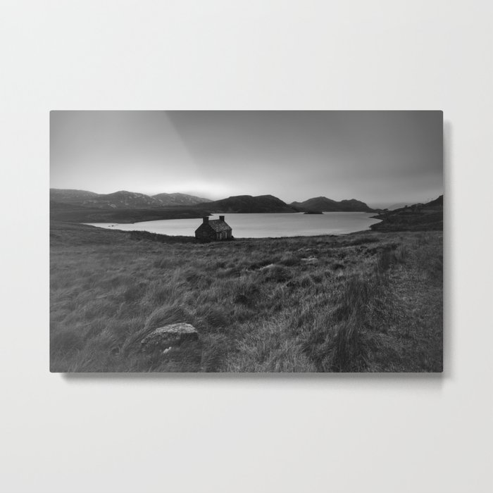 Old Cottage at Loch Stack Metal Print