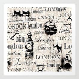 Vintage old newspaper paper London grunge collage sepia background Art Print