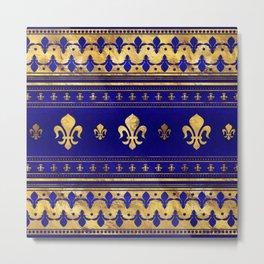 Fleur-de-lis  - Lapis Lazuli and Gold Metal Print
