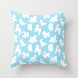 Bichon Frise Pattern (Blue Background) Throw Pillow
