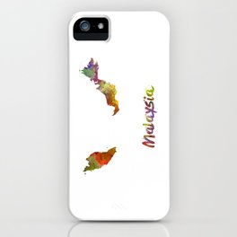 Malaysia in watercolor iPhone Case