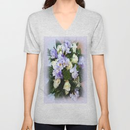 Roses and Freesias Unisex V-Neck