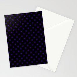 Indigo Violet on Black Snowflakes Stationery Cards