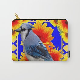 BLUE JAY & GOLDEN SUNFLOWERS WILDLIFE ART Carry-All Pouch