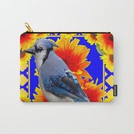BLUE JAY & GOLDEN SUNFLOWERS WILDLIFE ART Carry-All Pouch