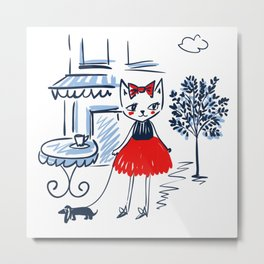 Fashion cats pattern Metal Print