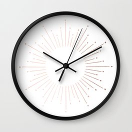 Sunburst Moon Dust Bronze on White Wall Clock