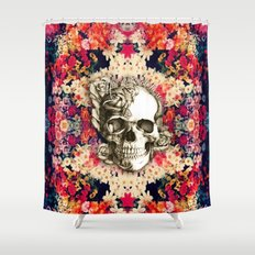 You are not here Day of the Dead Rose Skull. Shower Curtain