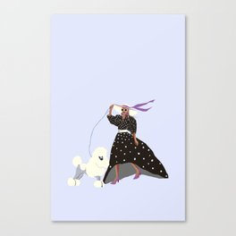 Lady and her Poodle Canvas Print