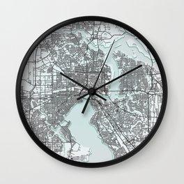 Jacksonville, USA, White, City, Map Wall Clock