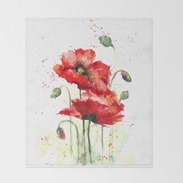 Watercolor flowers of aquarelle poppies Throw Blanket