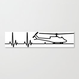 UH-1 Huey Helicopter Heartbeat Pulse Canvas Print