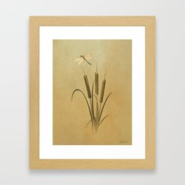 Cattails And Dragonfly Framed Art Print