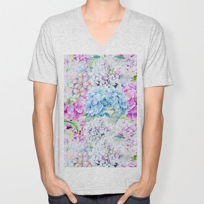 Multicolor Watercolor Hydrangea dream pattern Unisex V-Neck
