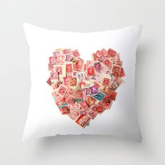 A Heart For Postage Throw Pillow