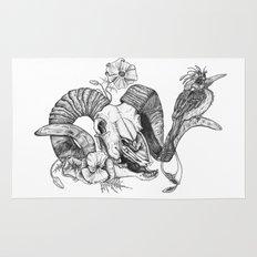 The ramskull and bird Rug